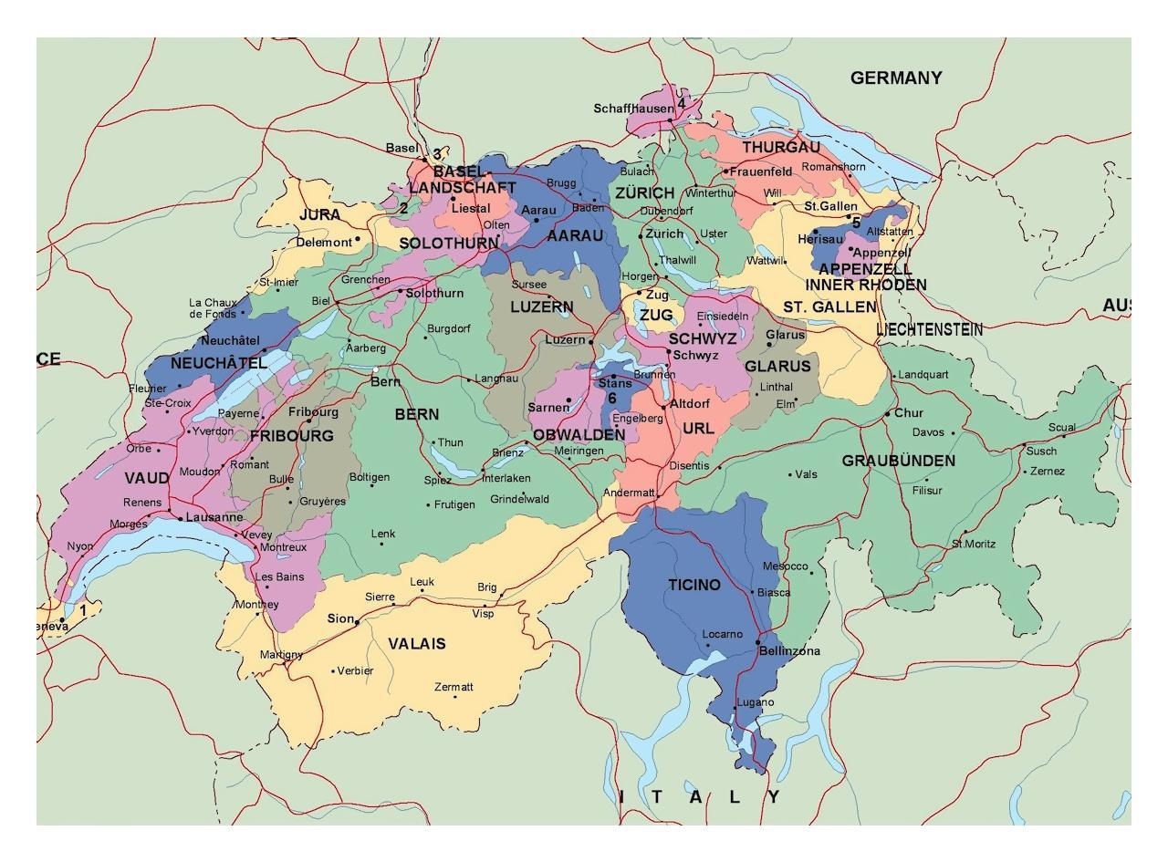 Die Wichtigsten Stadte In Der Schweiz Map Karte Der Schweiz Mit