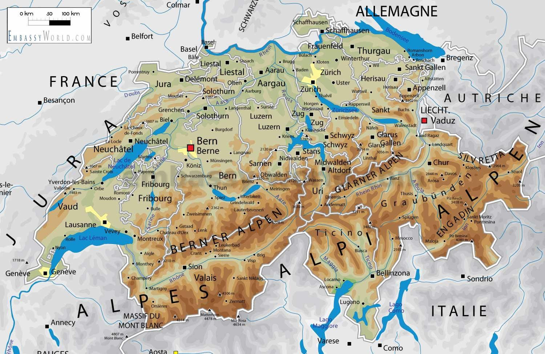 Physische Landkarte Von Schweiz Schweiz Geografischen Karte