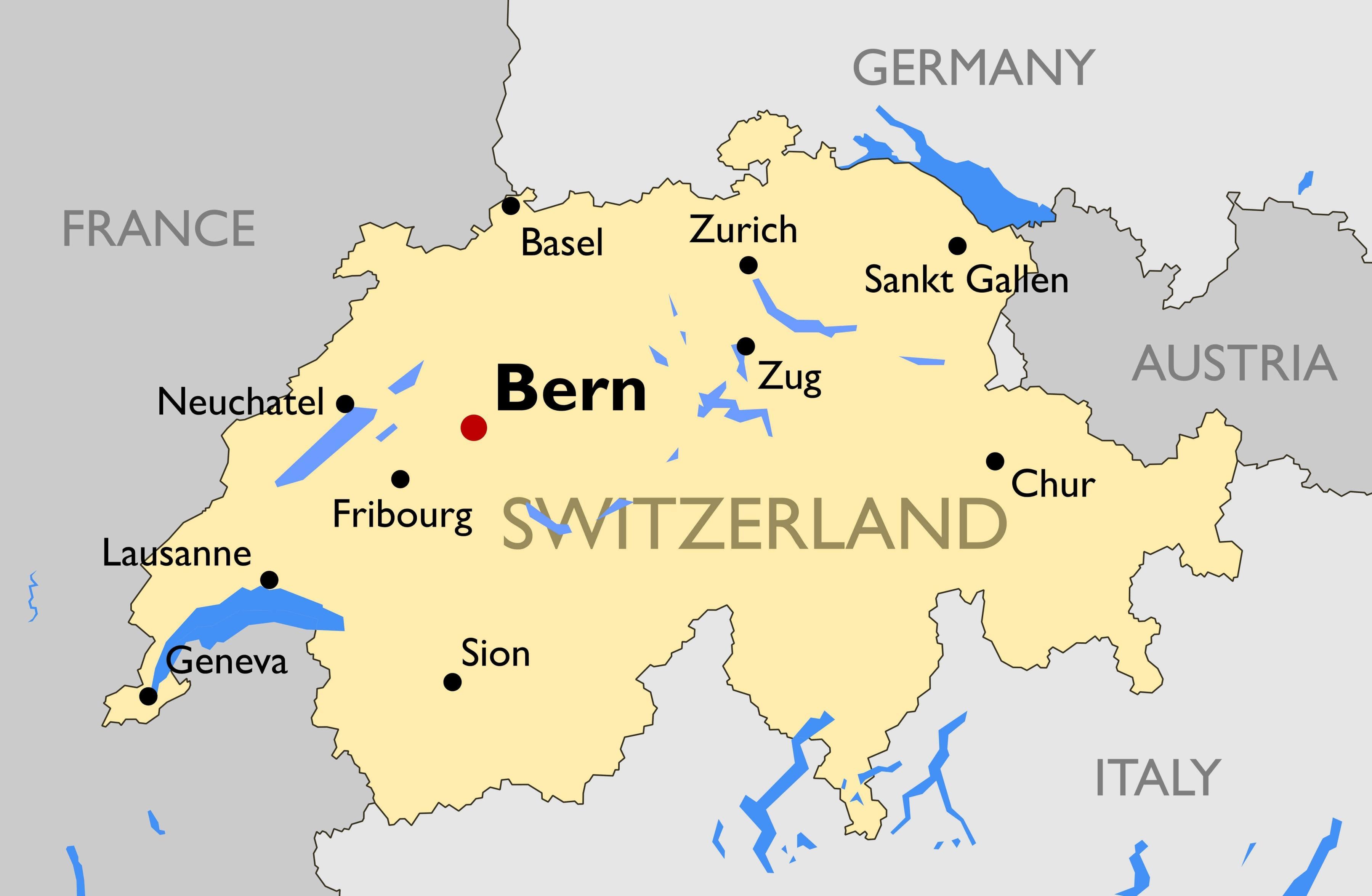 Karte Von Europa Mit Städten.Schweiz Städte Karte Karte Der Schweiz Mit Den Wichtigsten Städten