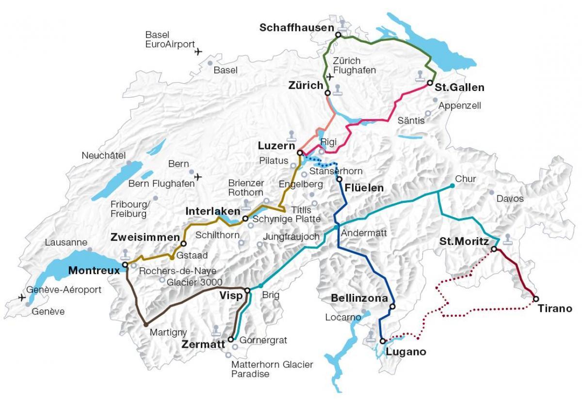 Freiburg Schweiz Karte.Die Schweiz Bahn Karte Schweiz Zug Route Karte Western